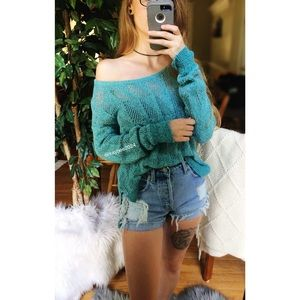 🌿 BDG • Soft Teal Slouchy Knit Sweater 🌿